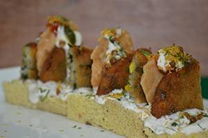 Palak Corn Patty Street Chaat